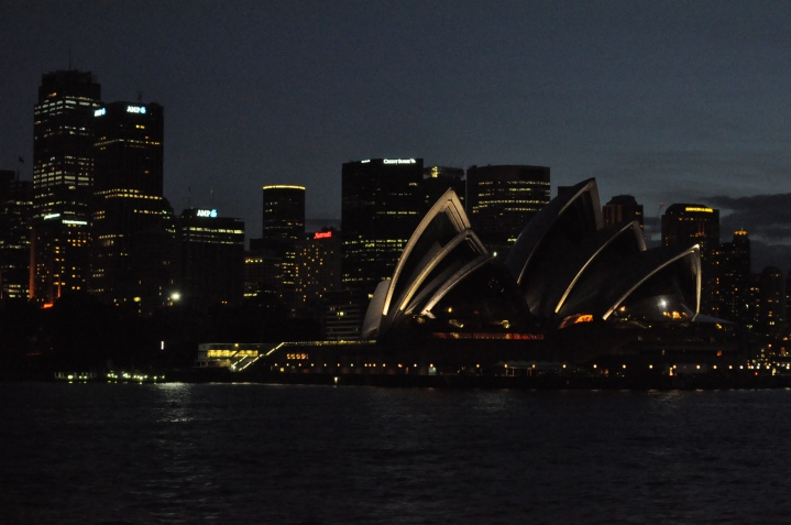 The opera house on a winter night