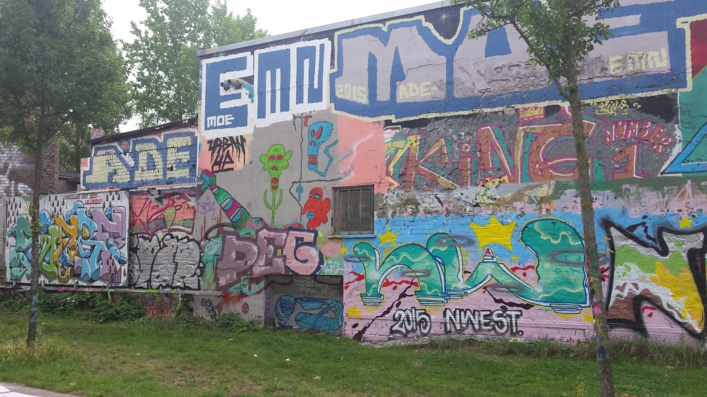 This is part of the area where street artists can work legally.